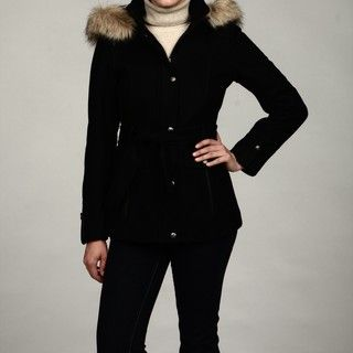 Buffalo Womens Belted Wool Faux Fur Hooded Coat FINAL SALE