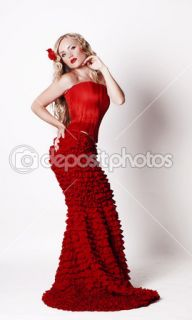 Flower queen in a red dress  Foto stock © Olena Kucher #10823716