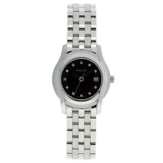 Gucci Womens 5505 Stainless Steel Black Dial Watch