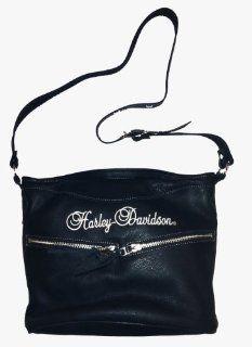 Harley Davidson® Womens Black Leather Shoulder Bag,. Front Pocket