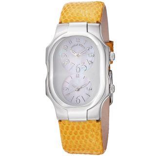 Philip Stein Womens Signature Yellow Leather Strap Quartz Watch