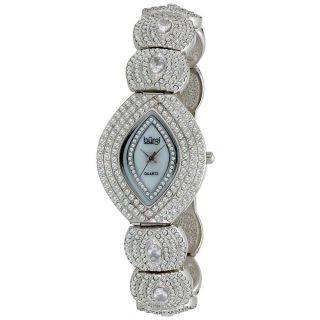Burgi Womens Oval Crystal Quartz Bracelet Watch