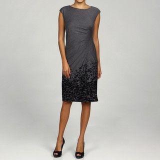 Marina Womens Grey/Black Border Print Side Pleated Dress