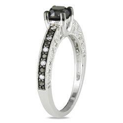 Miadora   Anillo de plata esterlina, con diamantes negros y blancos de