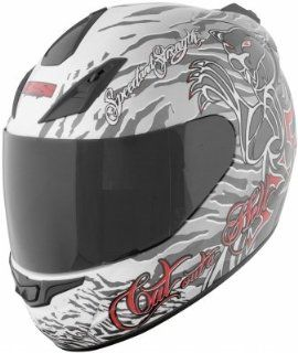 Speed & Strength SS1000 Full Face Motorcycle Helmet Silver/White Cat