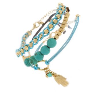 Nexte Jewelry Turquoise and Gold Bead Charm Bracelet Set