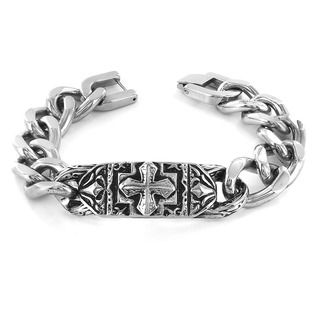 West Coast Jewelry Stainless Steel Ornate Gothic Cross Plate Link