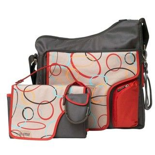 JJ Cole System 180 Messenger Diaper Bag in Cocoa Oval