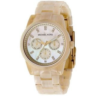 Michael Kors Womens Bradshaw Chronograph Leather Strap Watch