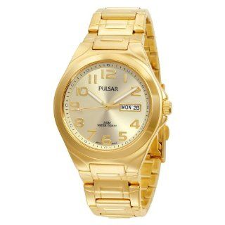 Pulsar Mens PXN152 Functional Gold Tone Champagne Dial Day Date Watch