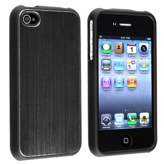 Black Brushed Aluminum Snap on Case for Apple iPhone 4 AT&T/ Verizon