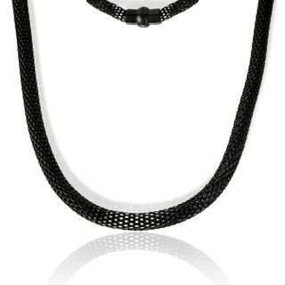 La Preciosa Black plated Stainless Steel Hollow Mesh Necklace