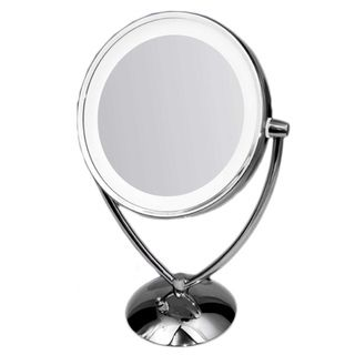 Ovente 1x/ 10x Dimmable Dual sided Lighted Round Mirror