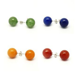 Pretty Little Style Silvertone Jade Stone Colors Earrings