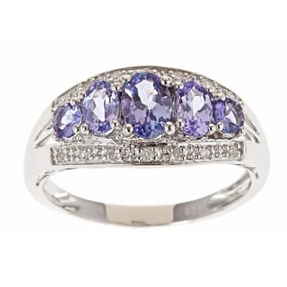 Yach Sterling Silver Tanzanite and 1/10ct TDW Diamond Ring (G H, I1