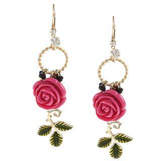 Betsey Johnson Rose Stem Drop Earrings