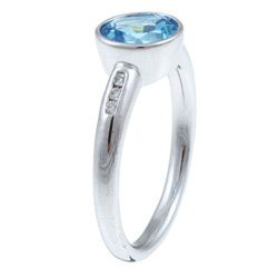 10k White Gold Blue Topaz and Diamond Ring
