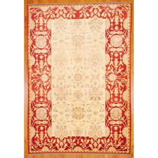 Afghan Hand Knotted Vegetable Dye Ivory/Rust Wool Rug (71 x 103