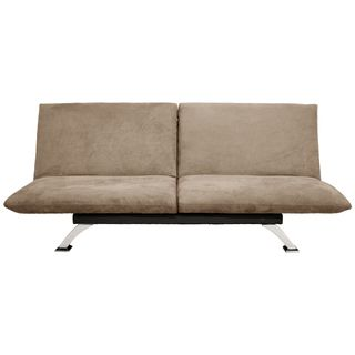 Tan Microfiber Futon Convertible Sofa Bed