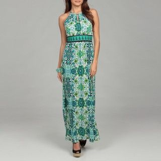 London Times Womens Halter Keyhole Maxi Dress