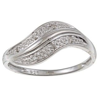 Sterling Silver Curved Diamond Accent Ring