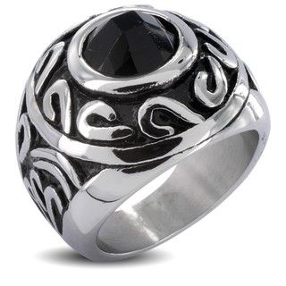 Stainless Steel Tribal Orb and Black Cubic Zirconia Mens Ring