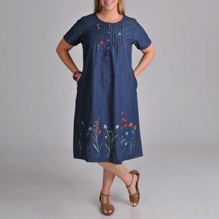 La Cera Womens Plus Embroidered Denim Dress