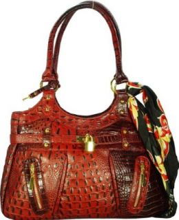 Vecceli Italy Alligator Embossed Red Handbag Designed by