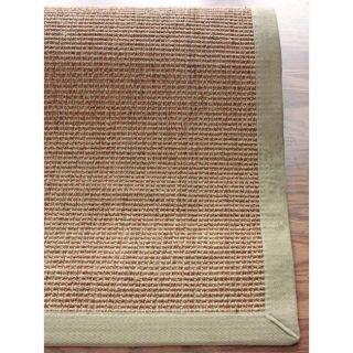 Handmade Eco Natural Fiber Green Cotton Border Sisal Rug (8 x 10