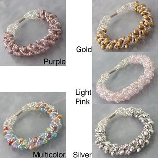 Shiny Multi color Crystal Weave Tube Magnetic Bracelet (Philippines