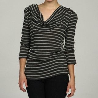 Cable & Gauge Womens Drape Neck Striped Top
