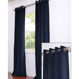 Grommet Moroccan Blue Velvet 96 Inch Curtain Panel