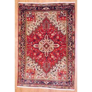 Persian Hand knotted Heriz Red/ Dark Blue Wool Rug (5 x 74