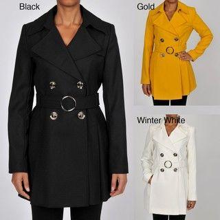 Via Spiga Womens Lightweight Wool blend Crepe Trench Coat