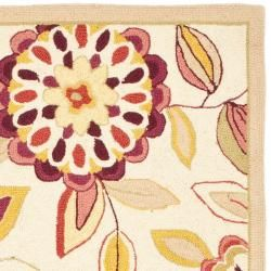 Hand hooked Chelsea Floral Garden Ivory/ Pink Wool Rug (26 x 8