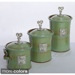 Artisans Domestic 3 piece Gourmet Canister Set with Heart Accents