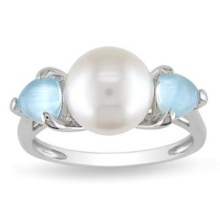 Miadora Sterling Silver FW Pearl and Created Blue Topaz Ring (9 9.5 mm
