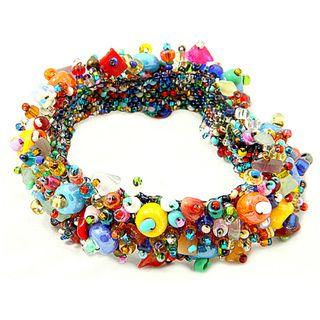 Coral and Crystal Capullo Multicolored Bead Bracelet (Guatemala