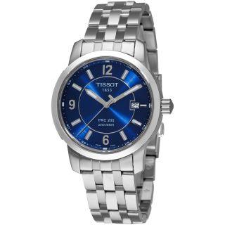 Tissot Mens PRC 200 Blue Dial Stainless Steel Quartz Watch