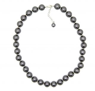 Pearlz Ocean Sterling Silver Grey Faux Shell Pearl Necklace (12mm