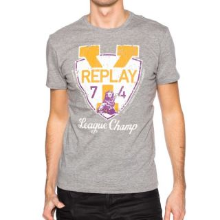 Tee shirt homme REPLAY M3021 M02 Gris   Achat / Vente T SHIRT Tee
