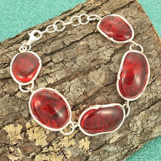 Sterling Silver Ruby Red Baltic Amber Islands Bracelet (Lithuania