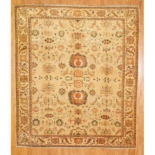Afghani Hand knotted Ivory/ Beige Oushak Wool Rug (91 x 105