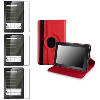 Red Leather Swivel Case/ Screen Protectors for  Kindle Fire