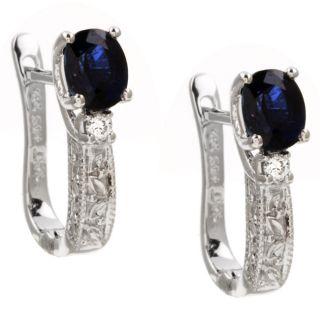 10k Gold Blue Sapphire and Diamond Hoop Earrings
