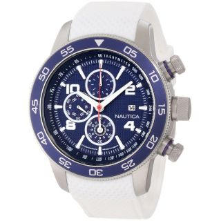 Nautica Mens Classic White Strap Blue Dial Steel Watch Today $149.99