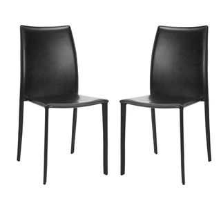 Stackable Jazzy Vinyl Black Side Chairs (Set of 2)