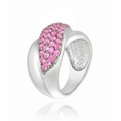 Icz Stones Silvertone Created Pink Sapphire Criss Cross Ring