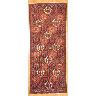 Hand knotted Persian Hamadan Navy/ Brown Wool Rug (36 x 810