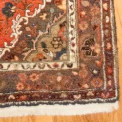 Hand knotted Persian Hamadan Rust/ Blue Wool Rug (37 x 98
